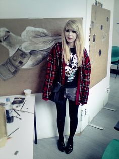 Charity Shop Cardigan, Charity Shop Slipknot Top, Diy Bleached Corduroy Shorts, Primark Tights, Primark Shoes, Charity Shop Vtg Bag
