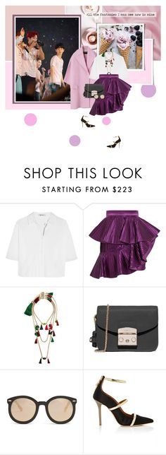 """""""All the fantasies I can see now is mine"""" by bibibaubau ❤ liked on Polyvore featuring Rochas, T By Alexander Wang, Balmain, Rosantica, Furla, Karen Walker, Malone Souliers, EXO, chanyeol and baekhyun"""