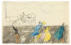 ALTE DAMPFLOKOMOTIVE MIT ZUSCHAUERN By Lyonel Feininger Dimensions: 5.51 X 8.58 in (14 X 21.8 cm) Medium: Pen and India ink, coloured crayon and graphite on paper Creation Date: 1909