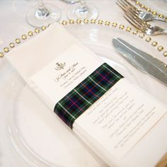 Add a sophisticated tartan wrap to a formal, white-and-gold place setting to make a dramatic statement. Tartan Wedding ideas, Scottish Wedding, Tartan patterned Ideas and Inspirations. Celtic Wedding, Irish Wedding, Our Wedding, Destination Wedding, Formal Wedding, Renaissance Wedding, Wedding Suite, Wedding Dinner, Dinner Menu