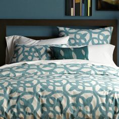 West Elm Organic Ironwork blue and white duvet cover