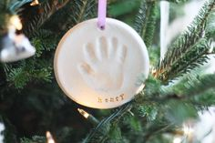 diy handprint ornament - 1 cup flour, 1/2 cup salt, 1/2 cup water. Mix and knead 7-10 min. Bake 200 degrees for couple hours or let dry several days.