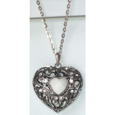 White Antiqued Silver Filigree Heart in Heart Pendant Necklace ($14) ❤ liked on Polyvore featuring jewelry, necklaces, heart pendant necklace, white necklaces, filigree heart necklace, filigree jewelry and heart necklace