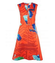 Red & Aqua Floral V-Neck Dress - Dresses - Clothing