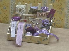 Nostalgie in 1zu12 von michaelas-miniaturen purple sewing kit