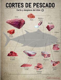 Cortes de pescado, atún