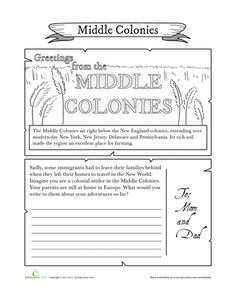 Worksheets: Middle Colonies