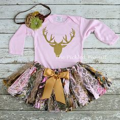 ~ Duck, Duck..... DEER! ~  This listing is for a cute and whimsy shabby chic fabric tutu, coordinating boutique top & headband. The 3 PIECE SET
