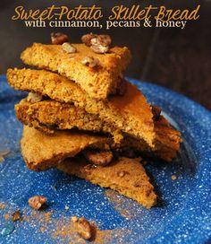 Paleo Sweet Potato Skillet Bread with Cinnamon Pecans