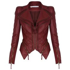 Red Leather Jacket ❤ liked on Polyvore featuring outerwear, jackets, red leather jackets, 100 leather jacket, leather jackets, genuine leather jackets and real leather jackets