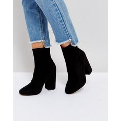 ASOS ELABORATE Sock Boots (1.250 CZK) ❤ liked on Polyvore featuring shoes, boots, ankle booties, black, pull on boots, high heel boots, black booties, black ankle booties and round toe boots