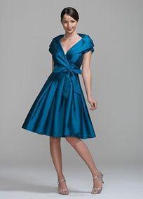 Shantung Short Sleeve Portrait Collar Dress
