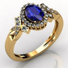 1.00 TCW Oval Tanzanite Ring in 14K Yellow Gold