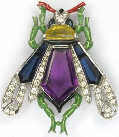 Trifari 'Alfred Philippe' Pave Enamel Citrine and Five Sided Amethyst and Sapphire Crystals Fly Pin Clip