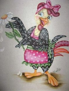 Pinturas tiradas da net artesã Lilinha Silva ... Cartoon Chicken, Chicken Humor, Chicken Crafts, Chicken Art, Wood Craft Patterns, Painting Patterns, Owl Bird, Pet Birds, Tole Painting