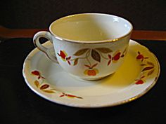 Vintage Hall Jewel Tea Autumn Leaf Cup and Saucer Set. Click on the image for more information.