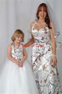 Camo wedding dress w/ flower girl dress