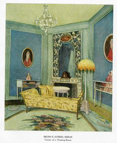 """Color Scheme Print - 1923 - """"""""BERLIN - CORNER OF A DRAWING ROOM"""""""" - Decorative Lithograph"""