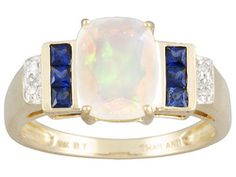 Ethiopian Opal And Blue Sapphire 1.55ctw With Round Diamond Accent 10k Yellow Gold Ring