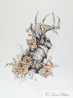Jackalope - 11 x 14 floral jackalope rabbit art print by NestandBurrow on Etsy