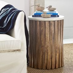 """Wisteria - Marble Woods Side Table; 18""""Dia x 24""""H; mango wood base, marble top; $399 list each; bunching table option"""