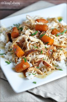 Chicken and baby carrots slow cook all day in a sweet and slightly spicy sauce, then served over rice for a complete meal!