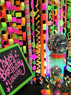 Paper chains hanging from walking track = super easy! 80s Birthday Parties, Neon Birthday, Music Themed Parties, Birthday Party Themes, Dance Party Themes, Dance Party Birthday, 13th Birthday, Glow Party Decorations, Glow In Dark Party