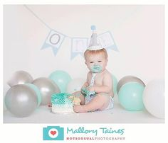 Aqua Grey Smash Cake Outfit First Birthday by KarelysKreations