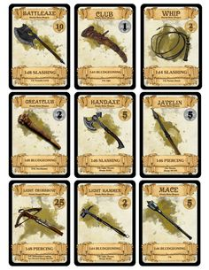 Tabletop Gaming Resources — dm-paul-weber:          Weapon Cards for...