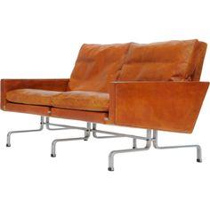 Poul Kjaerholm's Pk 31/2 loveseat for Fritz Hansen Denmark 1950's  A handsome Kjaerholm love seat in original burnt amber leather.