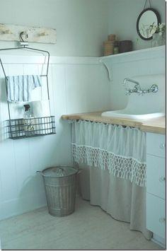 love the laundry room sink skirt by Tonja Laundry Room Sink, Basement Laundry, Laundry Rooms, Baños Shabby Chic, Sink Skirt, Vintage Sink, Vintage Laundry, Mini Loft, Under Sink