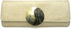 SHELL YAELL Natural Buntal Clutch Bag