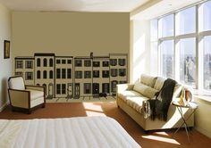 possibilities are endless without the black city scape on the far wall.