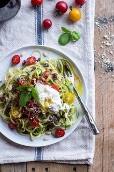 Zucchini Pasta with Poached Eggs & Heirloom Cherry Tomato Basil Sauce