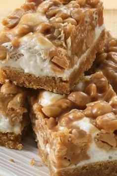 peanut butter cookie mix, marshmallows, rice cereal and peanuts. For a little chocolate flavor, use milk chocolate or semisweet chocolate chips instead of peanut butter chips. Candy Recipes, Sweet Recipes, Cookie Recipes, Dessert Recipes, Bar Recipes, Recipies, Family Recipes, Fudge, Just Desserts