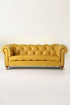 Buttery Yellow Leather Tufted Couch - Atelier Chesterfield from Anthropologie Yellow Leather Sofas, Yellow Couch, Leather Couches, Soft Leather, Sofa Couch, Tufted Sofa, Capitone Sofa, Sofa Furniture, Furniture Design
