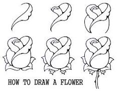 How to draw a flower step by step . Rose