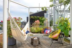 Zoku Rooftop Garden with hammock and living garden and greenhouse