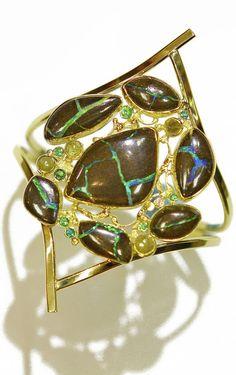 "Boulder Opal Bracelet ""Whirl Wind"" with rose cut diamonds, white diamonds, tsavorite in 22k and 18k gold. By Jennifer Kalled"