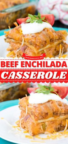 Everyone will love this Beef Enchilada Casserole! This easy comfort food is full of mouthwatering flavors and the leftovers are pretty delicious too! What's not to love about this casserole recipe for dinner? Enchilada Casserole Beef, Beef Enchiladas, Enchilada Sauce, Easy Casserole Recipes, Dinner Recipes, Dinner Ideas, Appetizers, Meals, Cooking
