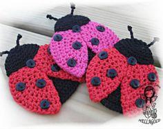 Crochet PATTERN, Applique Ladybug, Patch, Brooch, Application Ladybird, DIY Pattern 159, Instant Download