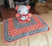 "NEW: Amigurumi Baby Shower Bear Lovie Blanket. HandCrafted by me. Made with Love. Caron Simply Soft yarn 100% Acrylic. Sz Blanket 11"" x 11"" Bear 5"" x 5"" Colors: Persimmon/Gray. Washable: delicate cycle Dry: low heat. If prefer can mail it with S/H $5.00. **bear has secure safety eyes, however, always take caution*"