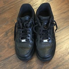 Nike Air Force 1s Black Nike Air Force 1s. EUC. Worn few times, very clean and ready to be yours! Size 7.5 women's. No trades, thanks for looking! Nike Shoes