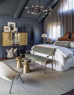 Bedroom Decor Ideas   Dark gray bedroom decoration ideas featuring a glass bulbs chandelier and more midcentury furniture ideas   #interiordesign #bedroomdecor #bedroomideas