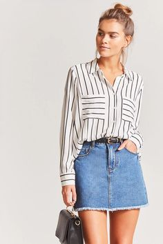 Product Name:Pinstripe High-Low Shirt, Category:CLEARANCE_ZERO, Price:15.9