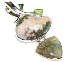 Fantastic Ocean Jasper Sterling Silver Pendant – Jewelry