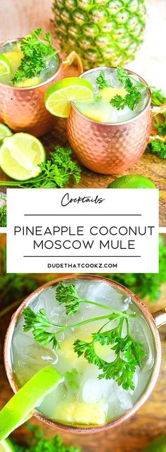 The natural flavors you get by mixing the fresh pineapple chunks and fresh cilantro really turns this Pineapple Coconut Moscow Mule into a refreshing anytime treat. via drinks Pineapple Coconut Moscow Mule Summer Cocktails, Cocktail Drinks, Cocktail Recipes, Drinks Alcohol Recipes, Yummy Drinks, Drink Recipes, Coconut Drinks Alcohol, Pineapple Alcohol Drinks, Food And Drinks