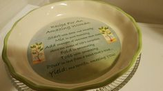 """""""Recipe For An Amazing Woman"""" Serving Dish  Pie Plate Dish. Abbey Press  EUC"""