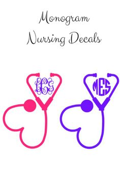 Monogram Decals for Nurses, Nursing Students, Doctor