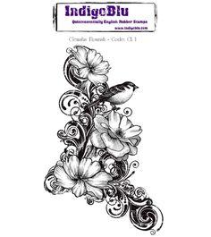 Indigoblu Clematis Flourish Cling Mounted Rubber Stamp Sheet Bird Floral   eBay